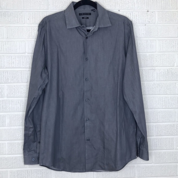 720900d0f68 Theory Shirts | Dover Slim Fit Dress Shirt Gray 16r 3233 | Poshmark